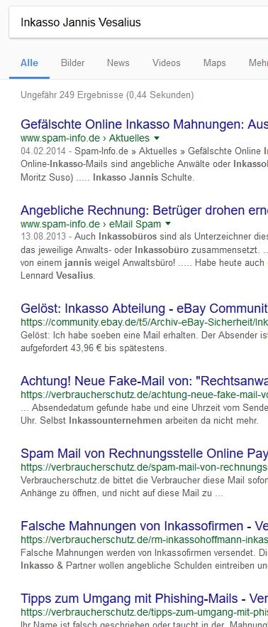 Spam Inkasso Jannis Vesalius Inkasso Online Pay Ag Klein