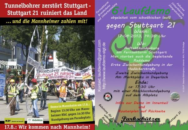 6. Laufdemo gegen Stuttgart 21/ Demo und Kundgebung der Tunnelbohrer-Kampagne