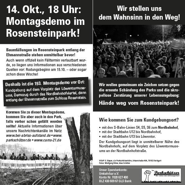 14. Okt. 2013, 18 Uhr: Montagsdemo im Rosensteinpark!