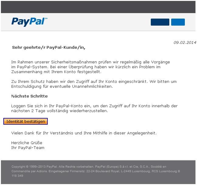 Paypal Sperrung Ihres Kontos