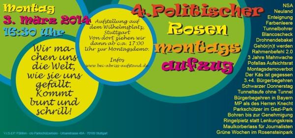 Flyer für den Rosen-Montagsdemo-Umzug